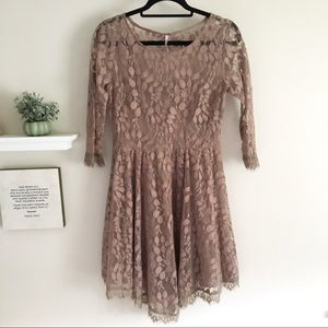 Free People Taupe Lace Dress